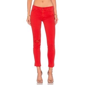 Mother Looker Ankle Fray Cayenne Red Skinny Jeans